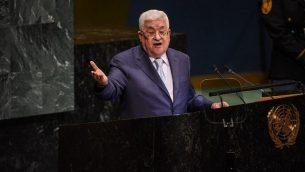 رئيس السلطة الفلسطينية محمود عباس يلقي خطابا أمام الجمعية العامة للأمم المتحدة في 27 سبتمبر 2018 في مدينة نيويورك. (Stephanie Keith/Getty Images/AFP)