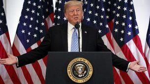 الرئيس الأمريكي دونالد ترامب خلال مؤتمر صحفي اجراه خلال الجمعية العامة للأمم المتحدة في نيويورك، 26 سبتمبر 2018 (AP Photo/Evan Vucci)