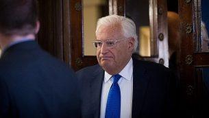 السفير الأمريكي لدى إسرائيل ديفيد فريدمان في القدس، 22 أغسطس، 2018. (Yonatan Sindel/Flash90)
