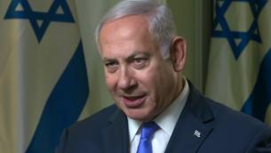 رئيس الوزراء بينيامين نتنياهو  في مقابلة مع شبكة CNN،  في 28 سبتمبر، 2018. (CNN screenshot)