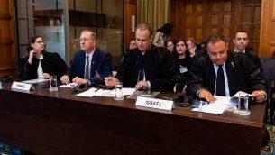 اليعثة الإسرائيلية في محكمة العدل الدولية في لاهاي، 5 سبتمبر 2018 (UN Photo/Wendy van Bree. Courtesy ICJ)