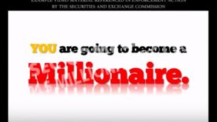 لقطة شاشة من أحد مقاطع الفيديو لشكوى بتاريخ 27 أيلول-سبتمبر 2018 نشرتها لجنة الأوراق المالية والبورصات ضد شركات تسويقية احتيالية تابعة لشركات الخيارات الثنائية (YouTube)