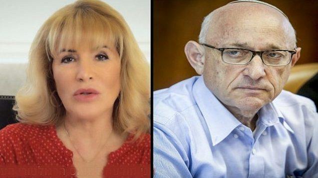 رئيسة معهد المحاسبين القانونيين المعتمدين في إسرائيل إيريس شتارك في يوليو 2018؛ ومستشار الأمن القومي الإسرائيلي يعكوب ناغيل في 18 سبتمبر 2016. (لقطة شاشة: YouTube / Marc Israel Sellem / POOL)