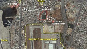 صورة فضائية نشرها الجيش الإسرائيلي تظهر مواقع بالقرب من مطار بيروت الدولي يدعي الجيش ان تنظيم حزب الله يستخدمها لتحويل صواريخ عادية الى صواريخ دقيقة مسيرة، في 27 سبتمبر 2018 (Israel Defense Forces)
