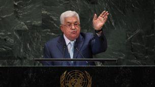 رئيس السلطة الفلسطينية محمود عباس يلقي كلمة أمام الدورة ال73 للجمعية العامة للأمم المتحدة في نيويورك، 27 سبتمبر، 2018. (TIMOTHY A. CLARY/AFP)