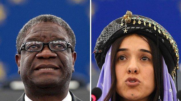 الفائزان بجائزة نوبل للسلام نادية مراد، ناشطة أيزيدية كانت أسيرة لدى تنظيم الدولة الإسلامية، والطبيب الكونغولي دينيس موكويجي (AFP PHOTO)