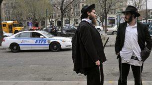 صورة توضيحية لليهود الأرثوذكس المتشددين في كراون هايتس، بروكلين، مدينة نيويورك، 21 مارس 2012. (Serge Attal/FLASH90)