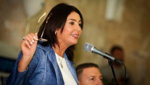 وزيرة الثقافة والرياضة ميري ريغيف خلال احتفال برأس السنة العبرية في مدينة صفد شمال اسرائيل، 3 سبتمبر 2018 (David Cohen/Flash90)
