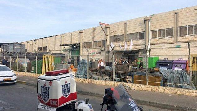 مجمع باركان الصناعي في شمال الضفة الغربية، حيث اطلق معتدي فلسطيني النار على ثلاثة اسرائيليين، 7 اكتوبر 2018 (Zaka)
