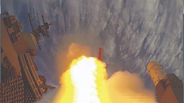 إطلاق صاروخ 'باراك-8'، الذي طورته شركة صناعات الفضاء الإسرائيلية خلال اختبار. (IAI)