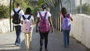 توضيحية: طلاب مدارس إسرائيليون، 27 أغسطس / آب 2013.(Yossi Zamir/Flash90/File)