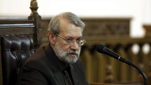 رئيس البرلمان  الإيراني علي لاريجاني خلال مؤتمر صحفي في طهران، 13 مارس 2017 (AP Photo/Ebrahim Noroozi)