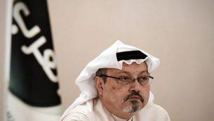 في هذه الصورة التي تم إلتقاطها في 15 ديسمبر، 2014، جمال خاشقجي في مؤتمر صحفي في العاصمة البحرينية المنامة.  (AFP/Mohammed Al-Shaikh)