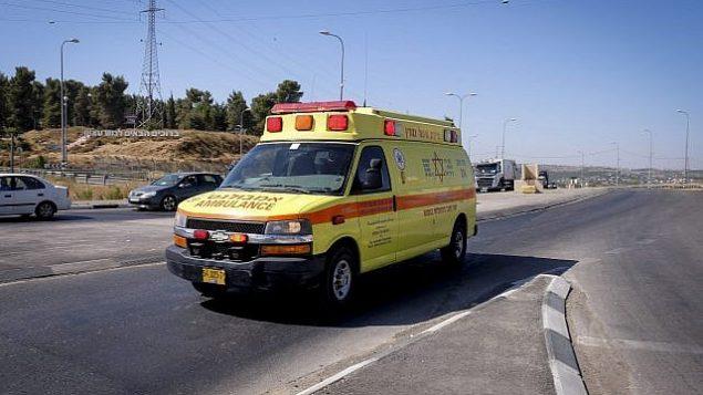 صورة توضيحية لسيارة إسعاف تابعة لمؤسسة 'نجمة داوود الحمراء' لخدمات الإسعاف. (Gershon Elinson/Flash90)