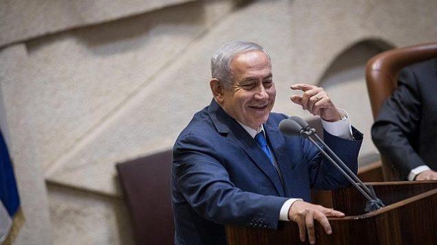 رئيس الوزراء بينيامين نتنياهو يلقي كلمة خلال جلسة للكنيست في 31 أكتوبر، 2018.  (Hadas Parush/Flash90)