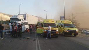 موقع حادث الطارق بالقرب من مفرق بتسلئيل، على الطريق رقم 90 في غور الأردن، 4 نوفمبر، 2018. (نجمة داوود الحمراء)