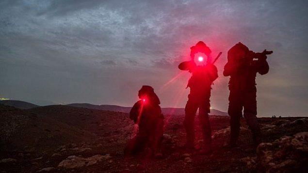 جنود في كتيبة القوات الخاصة في الجيش الإسرائيلي خلال تدريب واسع النطاق، نوفمبر 2018 (Israel Defense Forces)