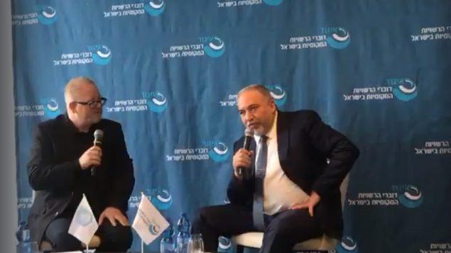 وزير الدفاع السابق افيغادرو ليبرمان في نتانيا، 22 نوفمبر 2018 (Screenshot)
