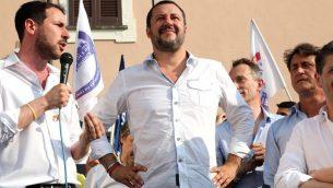 وزير الداخلية الايطالي خلال تجمع انتخابي، 17 يونيو 2018 (Matteo Bazzi/ANSA via AP)