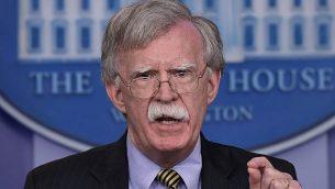 مستشار الأمن القومي الأمريكي جون بولتون يتحدث خلال مؤتمر صحفي في البيت الأبيض في واشنطن، 3 اكتوبر، 2018.  (AP Photo/Susan Walsh)