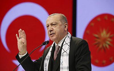 الرئيس التركي رجب طيب اردوغان يخاطب برلمانيين اسلاميين خلال لقاء حول القدس في اسطنبول، 14 ديسمبر 2018 (Presidential Press Service via AP, Pool)