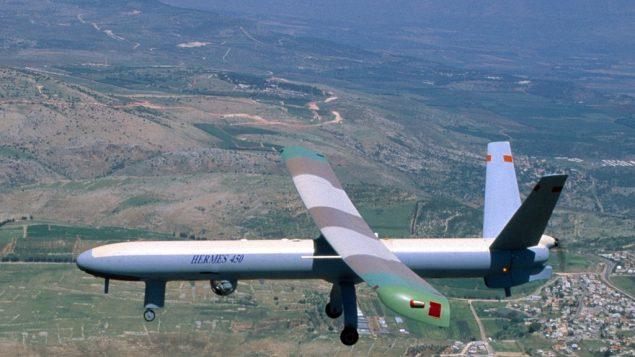 طائرة مسيرة اسرائيلية من طراز هيرمس 450 (Elbit via Tsahi Ben-Ami/Flash 90)