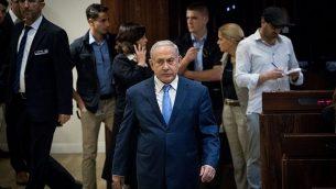 رئيس الوزراء بينيامين نتنياهو في الكنيست، 21 نوفمبر، 2018.  (Yonatan Sindel/Flash90)