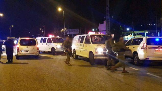 ساحة هجوم اطلاق نار في مستوطنة عوفرا بالضفة الغربية، 9 ديسمبر 2018 (Magen David Adom)