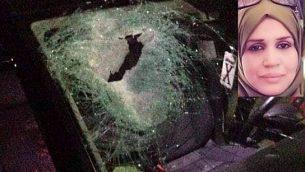 سيارة زوجين فلسطينيين بعد  تعرضها لحادث طرق جراء إصابتها بحجر يُشتبه بأن مستوطنين إسرائيليين قاموا بإلقاء في مفرق 'تبواح' في شمال الضفة الغربية، 12 أكتوبر، 2018.    (Zachariah Sadeh/Rabbis for Human Rights); في الصورة الصغرى: عائشة طلال الرابي.  (Courtesy)