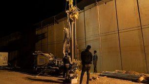 الجيش الإسرائيلي خلال حفريات في الأراضي جنوب الحدود اللبنانية في محاولة لتحديد وتدمير أنفاق هجوم حزب الله التي يقول إنها دخلت الأراضي الإسرائيلية، في 5 كانون الأول / ديسمبر، 2018. (الجيش الإسرائيلي)