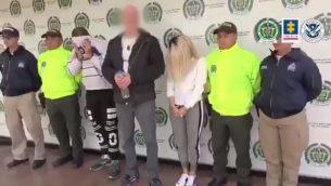 مشتبه بهم اسرائيليون معتقلون بشبهة المشاركة في شبكة تجارة جنس اطفال في كولومبيا (Screen grab via Twitter of Colombia's attorney general)