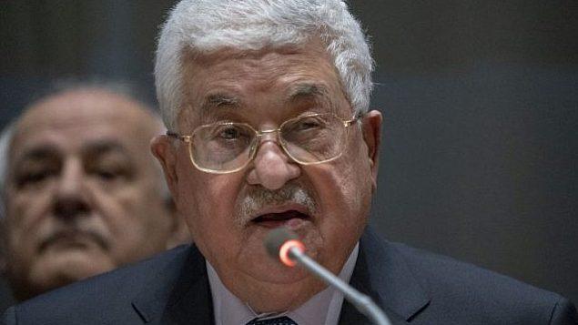 رئيس السلطة الفلسطينية محمود عباس يلقي خطابا أمام مجموعة ال77 في 15 يناير، 2019 في الأمم المتحدة في نيويورك.  (Don EMMERT / AFP)