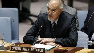 السفير السوري الى الامم المتحدة بشار جعفري يخاطب مجلس الامن الدولي في مقر الامم المتحدة، 22 يناير 2019 (AP Photo/Richard Drew)