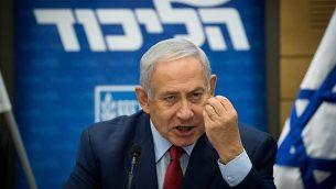 رئيس الوزراء بينيامين نتنياهو يترأس جلسة لكتلة حزب 'الليكود' في الكنيست، 24 ديسمبر، 2018. (Yonatan Sindel/Flash90)