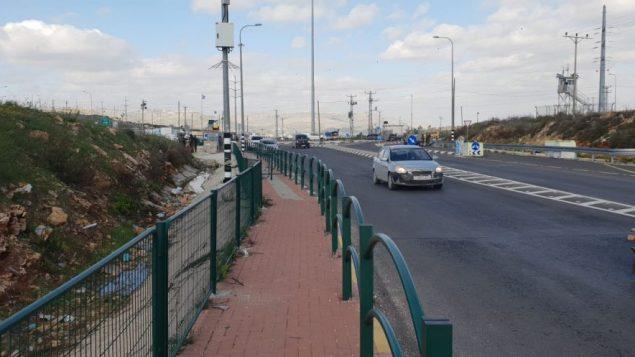 مفرق تابوح في الضفة الغربية، حيث اصيبت سيدة فلسطينية برجلها بعد رفضها الاستجابة لطلبات عناصر حرس الحدود للتوقف، 7 يناير 2019 (Israel Police)