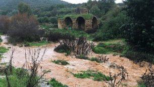 نهر زلمون في شمال اسرائيل يتدفق بقوة نتيجة الامطار، 9 يناير 2019 (courtesy Nadav Bartan/Nature and Parks Authority)