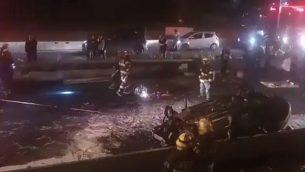 موقع حادث الطرق المروع في حيفا في 11 يناير، 2019. (screen capture: Twitter)