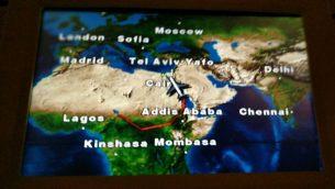 مسار طائرة رئيس الوزراء بنيامين نتنياهو فوق جنوب السودان، كما يبدو على شاشة داخل طائرة نتنياهو، 20 يناير 2019 (Rraphael Ahren)