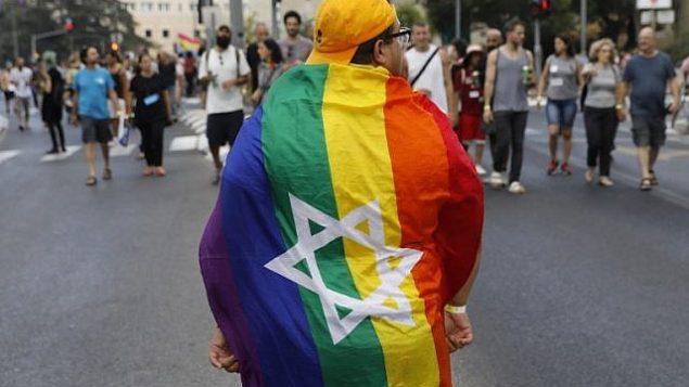 مشاركون في مسيرة الفخر المثلية السنوية في القدس، 2 أغسطس 2018. (AFP Photo/Menahem Kahana)