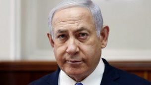 رئيس الوزراء بنيامين نتنياهو خلال جلسة الحكومة الاسبوعية في مكتبه بالقدس، 3 فبراير 2019 (Ronen Zvulun/Pool/AFP)