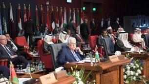 رئيس السلطة الفلسطينية محمود عباس في اجتماع للقادة العرب والأوروبيين في شرم الشيخ، 24 فبراير، 2019. (Credit: Wafa)