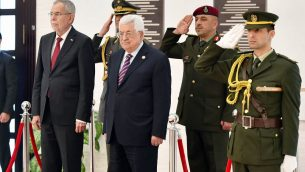 رئيس السلطة الفلسطينية محمود عباس والرئيس النمساوي ألكسندر فان دير بيلين في المقر الرئاسي في رام الله، 5 فبراير 2019 (Wafa)
