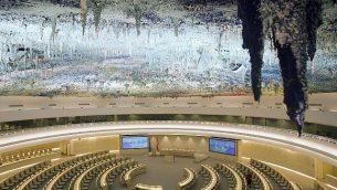 هذه الصورة من الأرشيف من يوم الثلاثاء، 8 نوفمبر، 2008 تظهر غرفة حقوق الإنسان (Room XX)في مقر الأمم المتحدة الأوروبي في جنيف، سويسرا.  (Salvatore Di Nolfi/Keystone via AP, File)