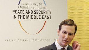 المستشار الكبير للبيت الأبيض، جاريد كوشنر، يشارك في مؤتمر حول 'الأمن والسلام في الشرق الأوسط' في وارسو، بولندا، الخميس، 14 فبراير، 2019.  (AP Photo/Czarek Sokolowski)