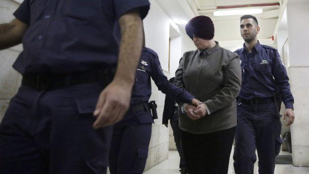 مالكا لايفر تمثل امام محكمة في القدس، 27 فبراير 2018 (AP Photo/Mahmoud Illean, File)