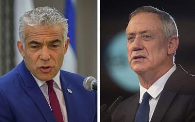 رئيس حزب 'يش عتيد'، يائير لابيد (من اليسار)، ورئيس حزب 'الصمود من أجل إسرائيل'، بيني غانتس.  (Yossi Zeliger/Flash90, Hadas Parush/Flash90)