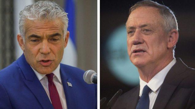 زعيم حزب يش عتيد، يئير لبيد (يسار)، ورئيس حزب الصمود الإسرائيلي بيني غانتس. (Yossi Zeliger/Flash90, Hadas Parush/Flash90)