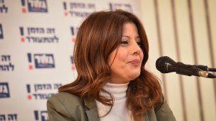 عضو الكنيست أورلي ليفي ابكاسيس خلال حدث انتخابي في تل ابيب، 5 فبراير 2019 (Flash90)