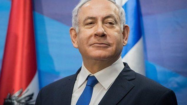 رئيس الوزراء بينيامين نتنياهو يتحدث في مكتب رئيس الوزراء في القدسن 5 فبراير، 2019. (Noam Revkin Fenton/Flash90)