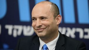 وزير التربية والتعليم نفتالي بينيت في مؤتمر صحفي في تل أبيب، 7 فبراير، 2019. (Tomer Neuberg/Flash90)